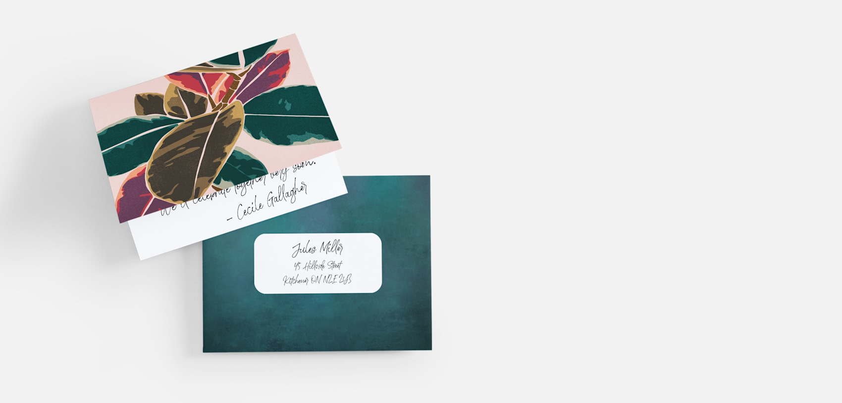 personalized cards with leaf illustration