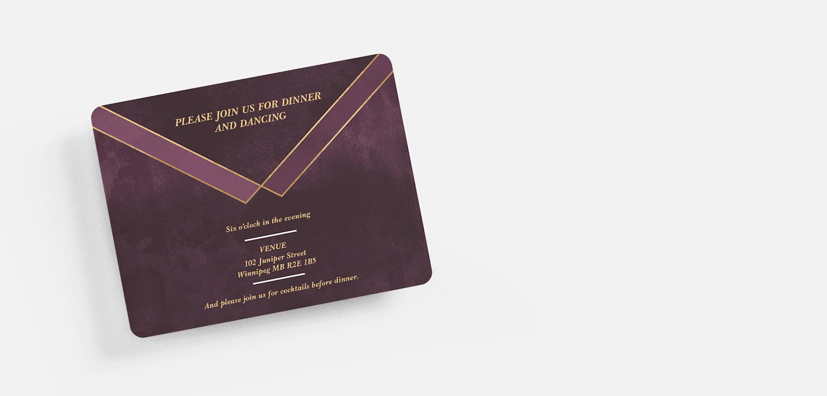 purple and gold wedding reception invite