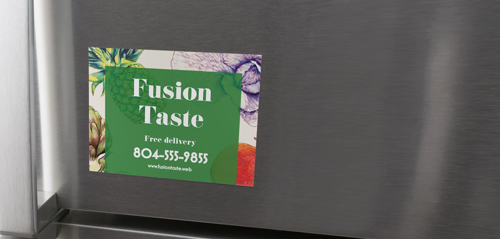 green magnetic postcard for restaurant