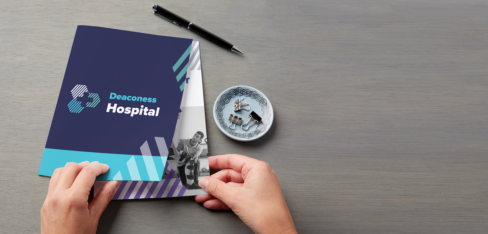 dark blue presentation folder for hospital