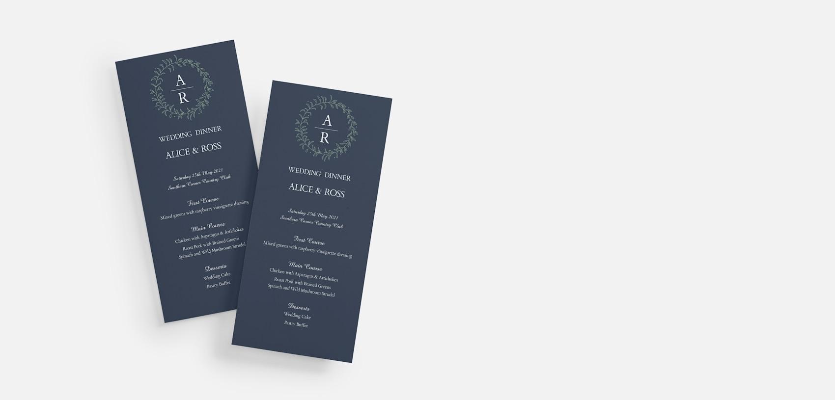 navy blue and white wedding menus
