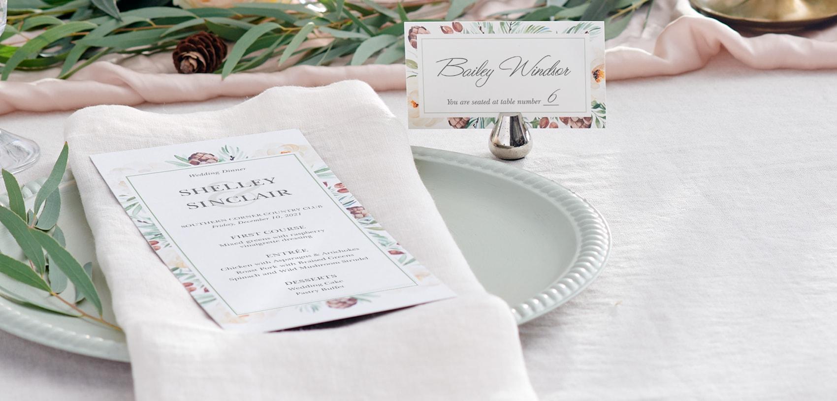 wedding menus with floral design