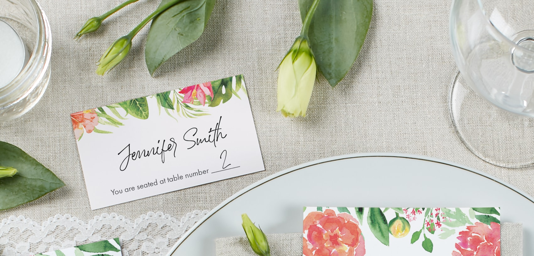 wedding name card with flower and leaf design