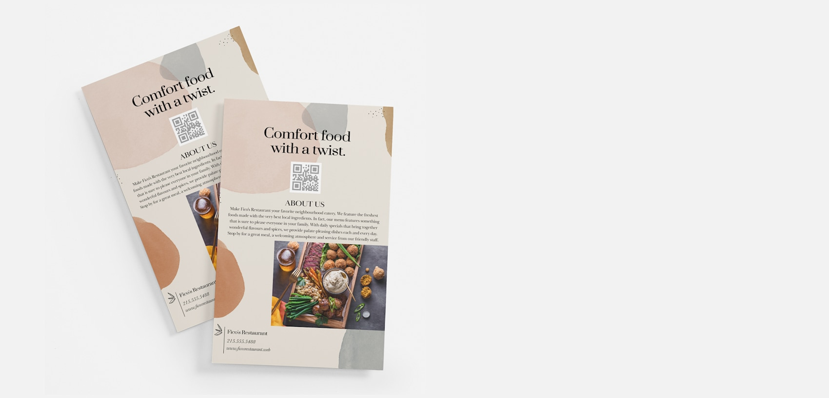 comfort food custom business flyers