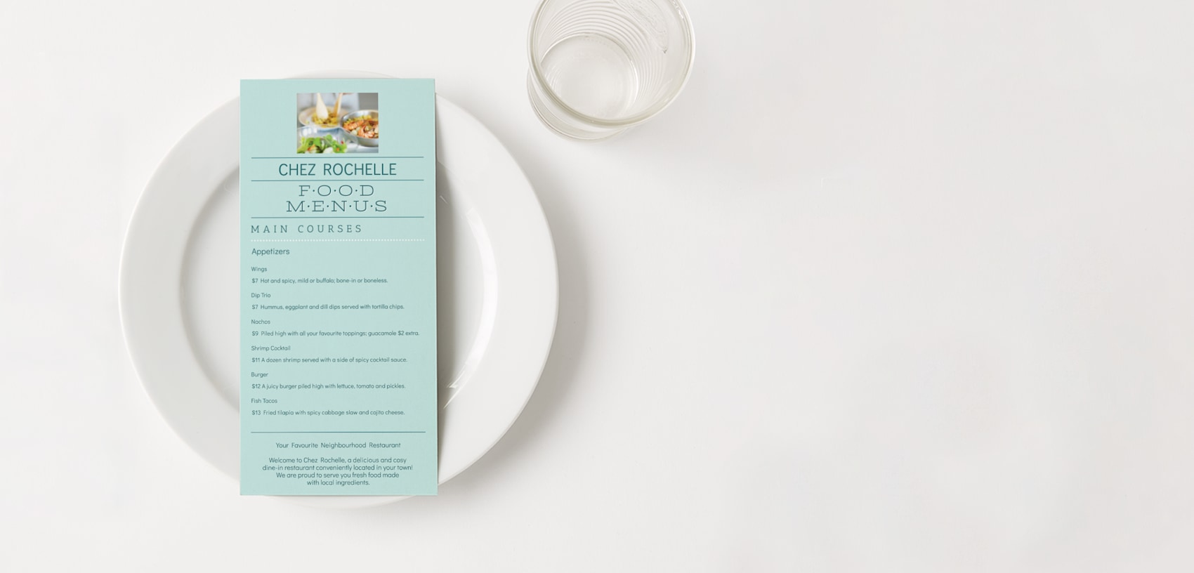 pastel blue restaurant menu
