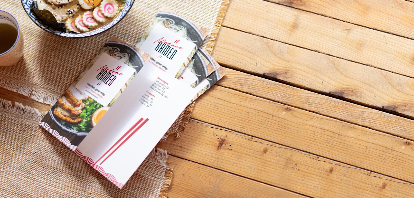 ramen takeout menu