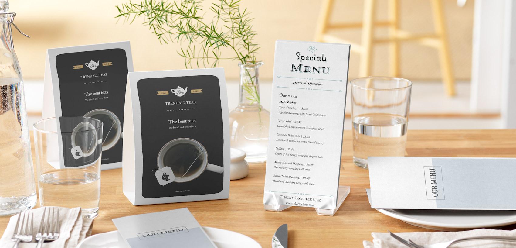 grey restaurant table tents