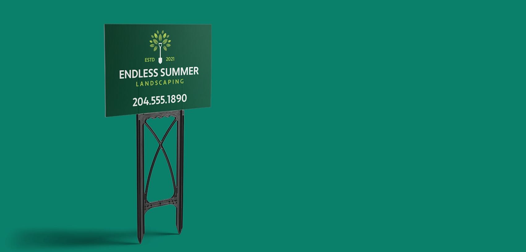 custom green lawn sign Canada