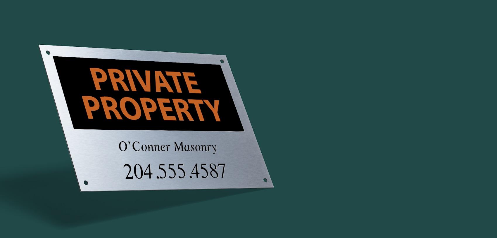custom metal sign private property