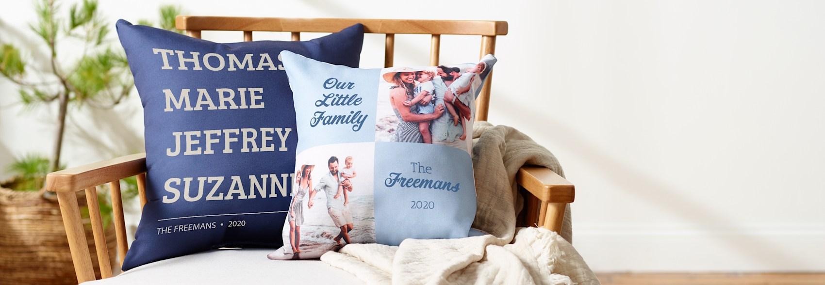 custom cushions with photos and text