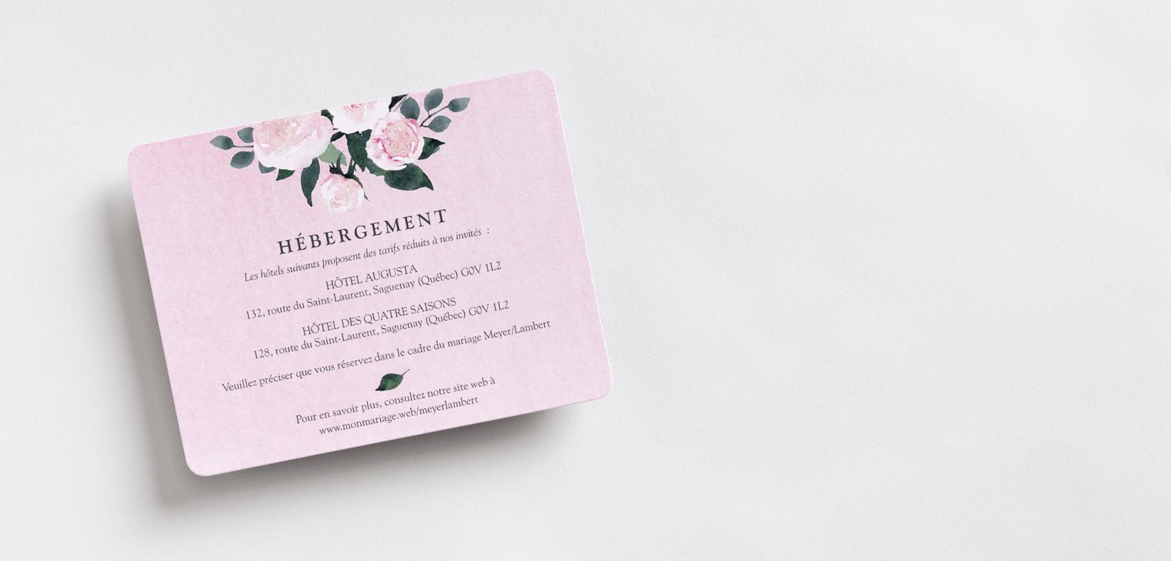 cartons d'accompagnement de faire-part de mariage avec thème floral rose
