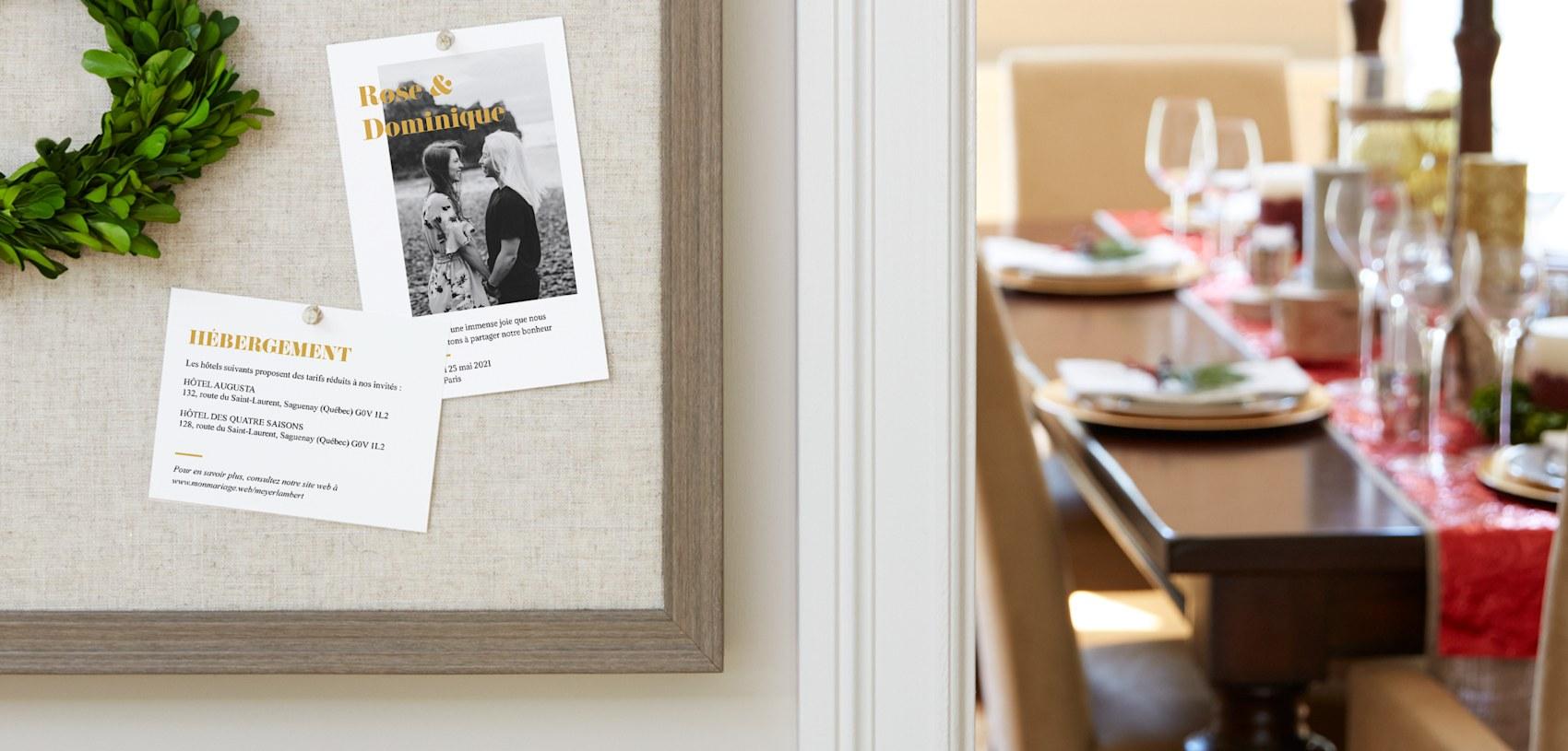 cartons d'accompagnement de mariage avec photo et texte doré
