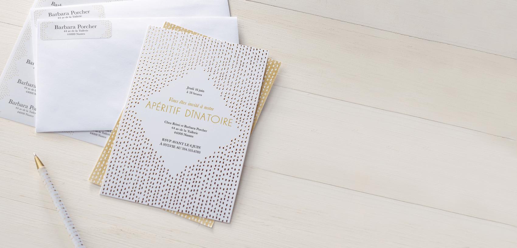 invitation de cocktail noire et dorée
