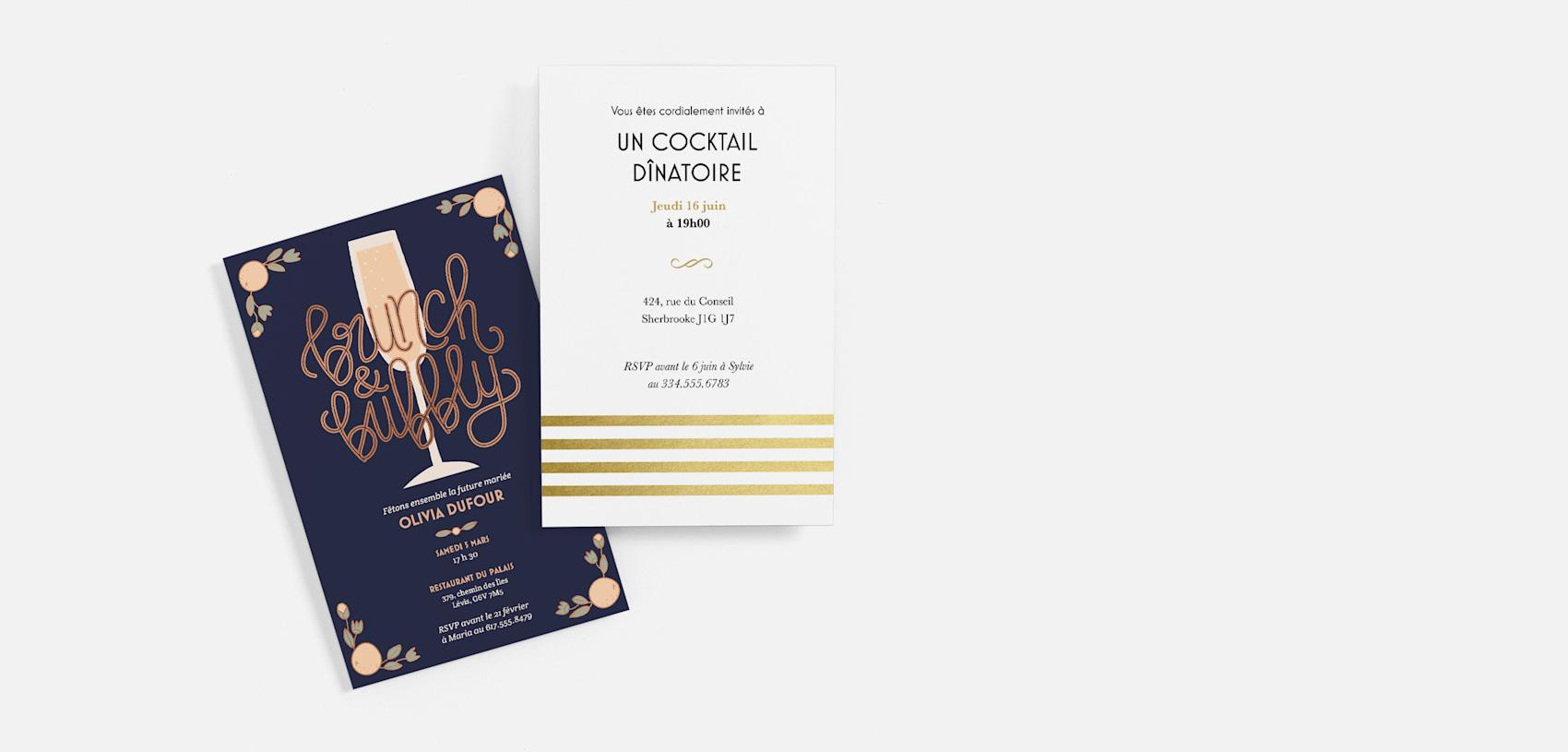 invitation à un déjeuner-dîner bleu marine et invitation à un souper blanche et dorée