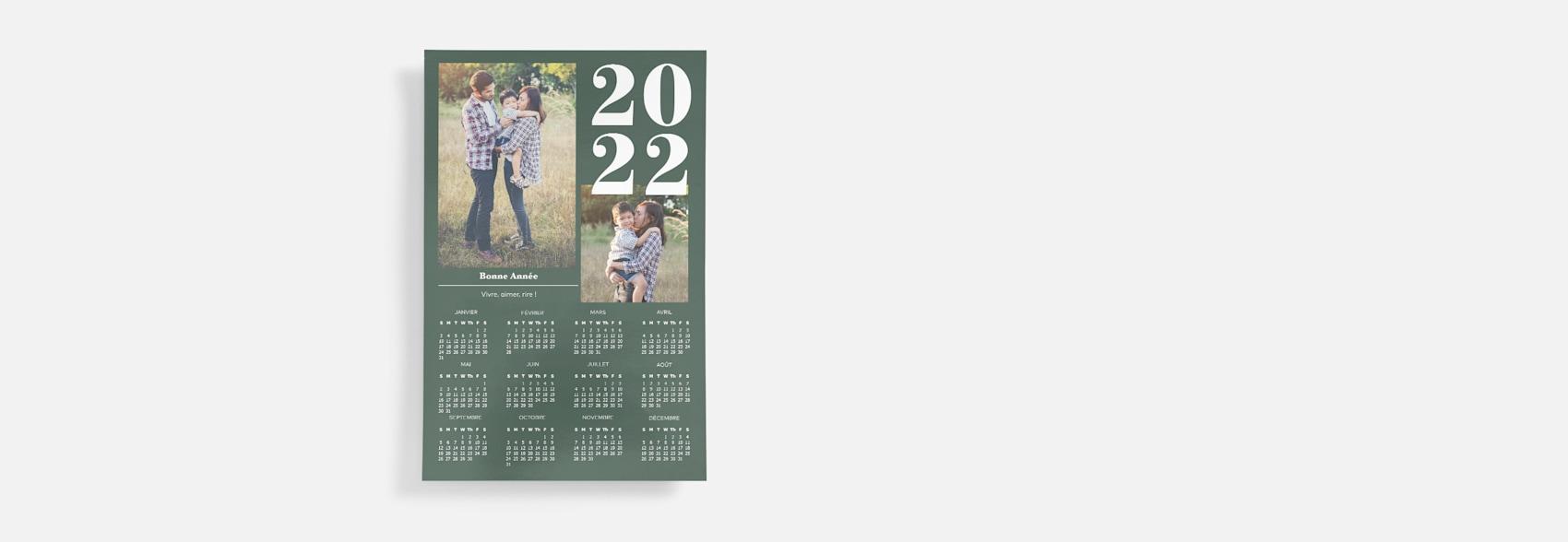 affiche calendrier avec photos de famille