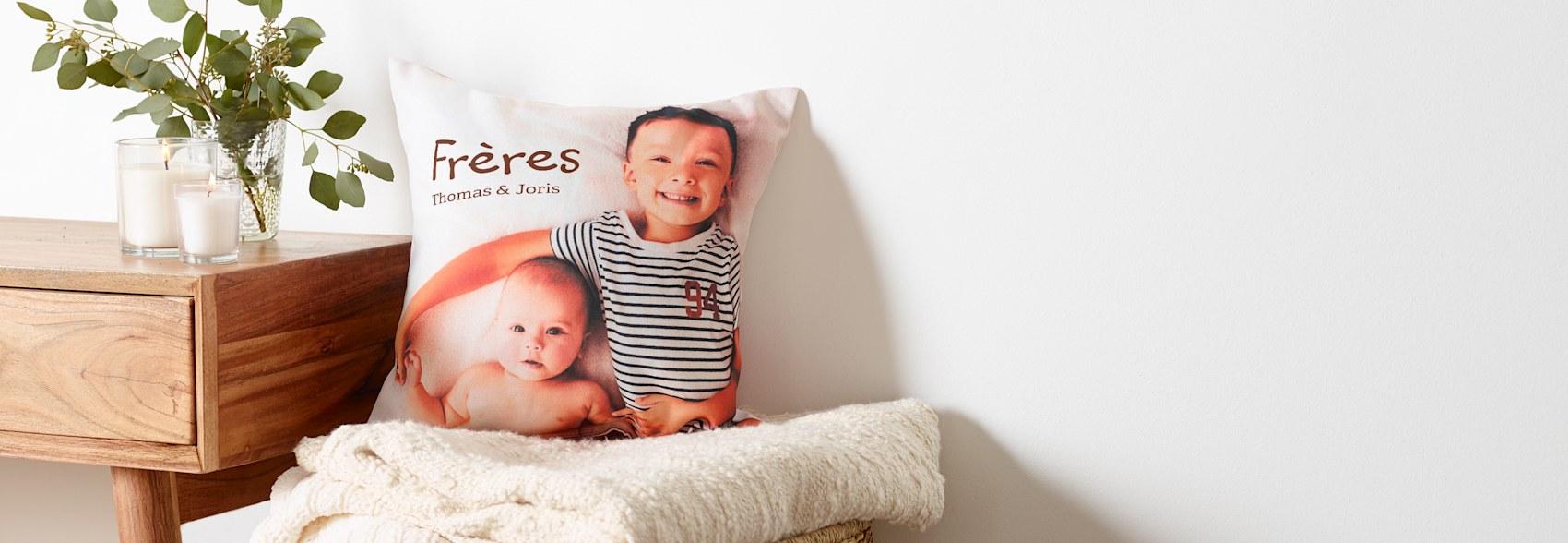 coussins personnalisés avec photos d'enfants