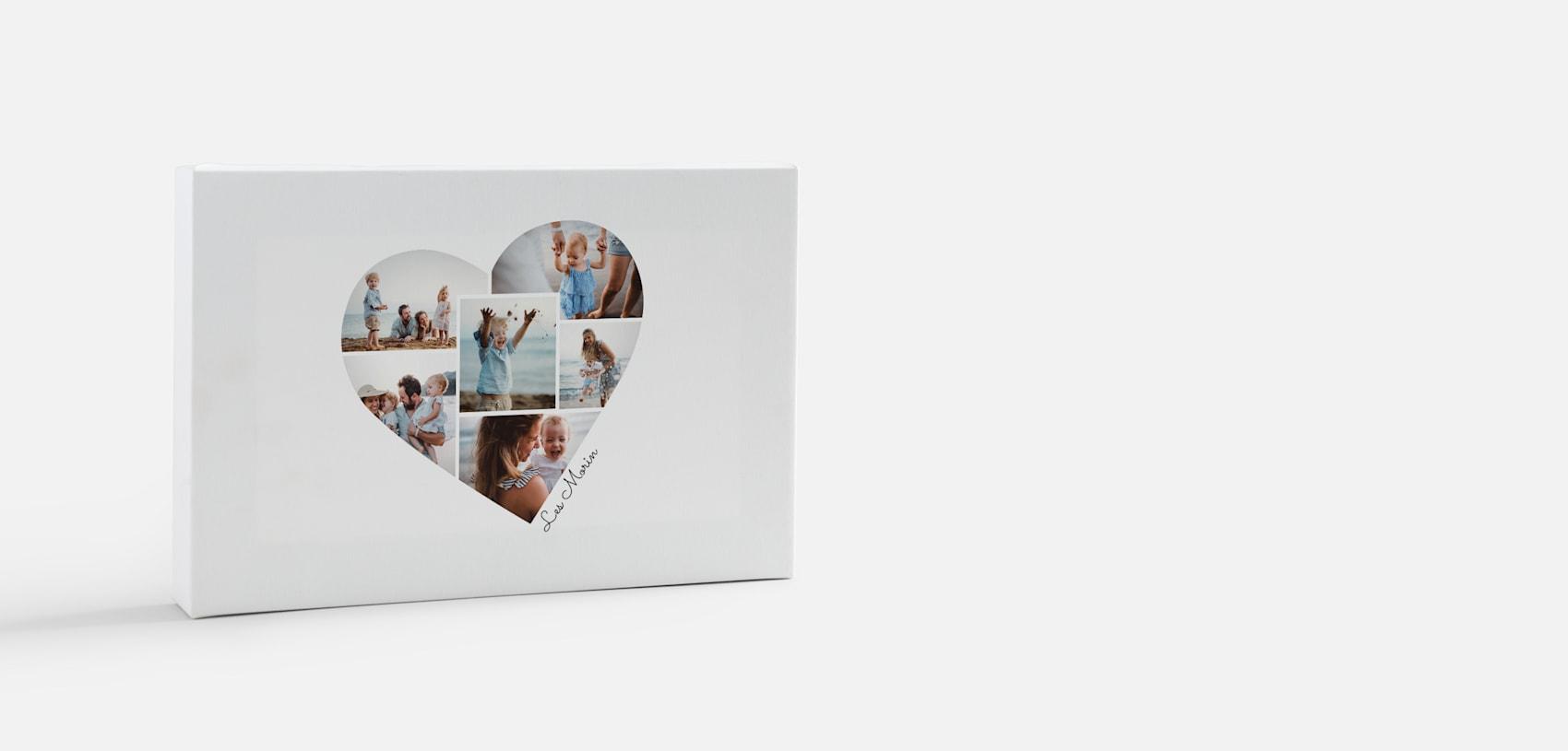 impression sur toile de photos avec collage en forme de cœur