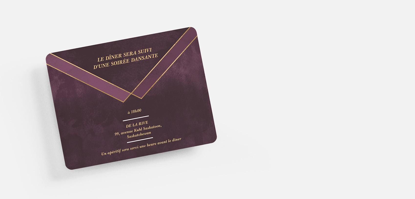 carton de réception de mariage violet et doré