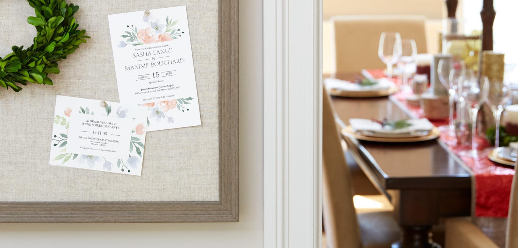 cartons de réception de mariage avec motif aquarelle de fleurs