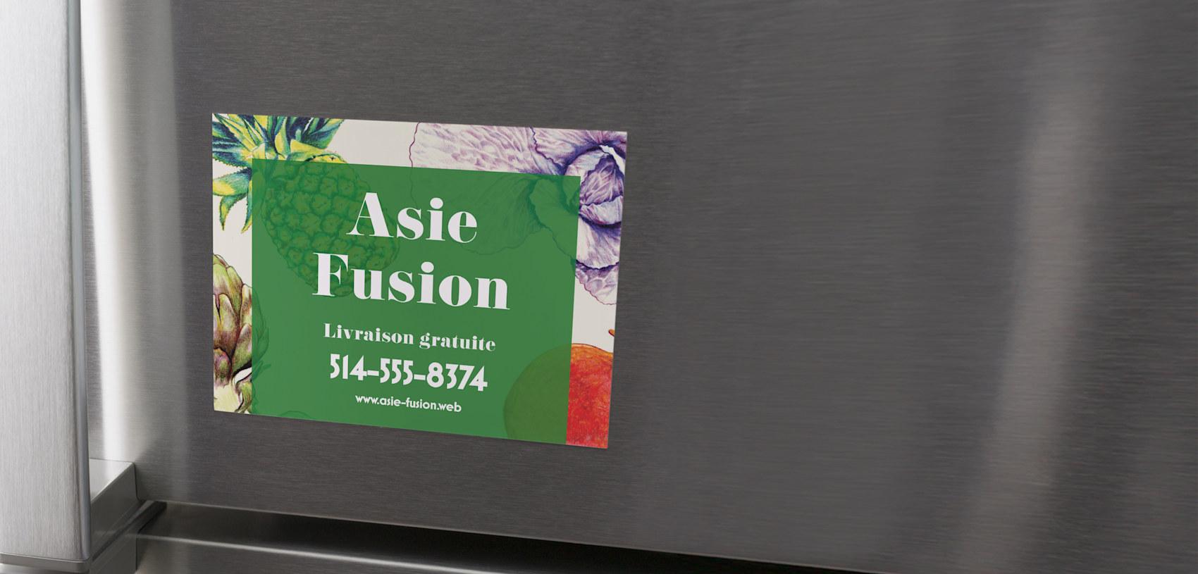 carte postale aimantée verte pour restaurant