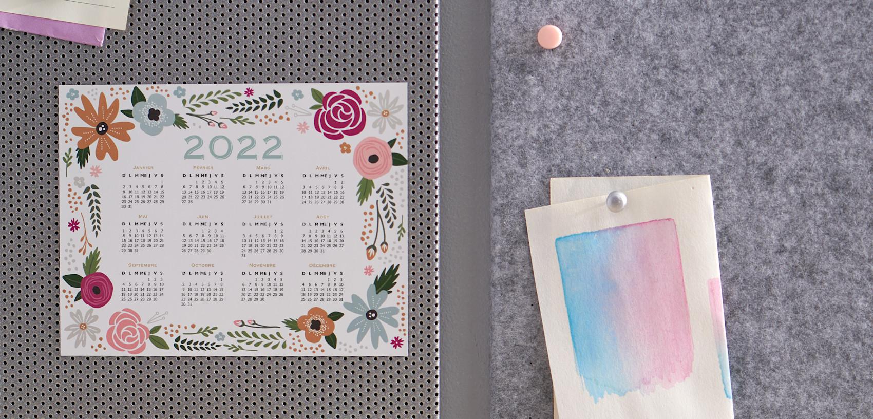calendrier magnétique motif floral