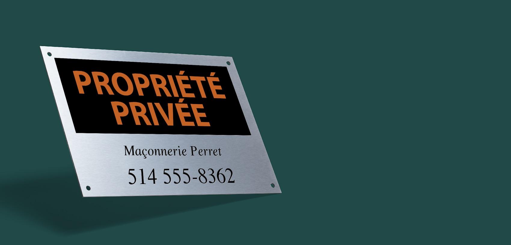 Enseigne métallique personnalisée propriété privée