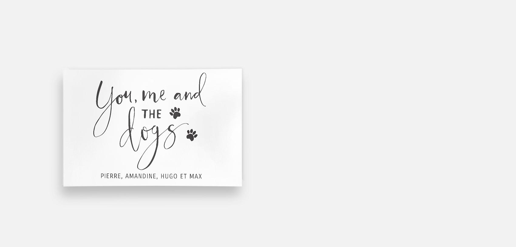 affiche murale avec «toi, moi et le chien» en caractères typographiques