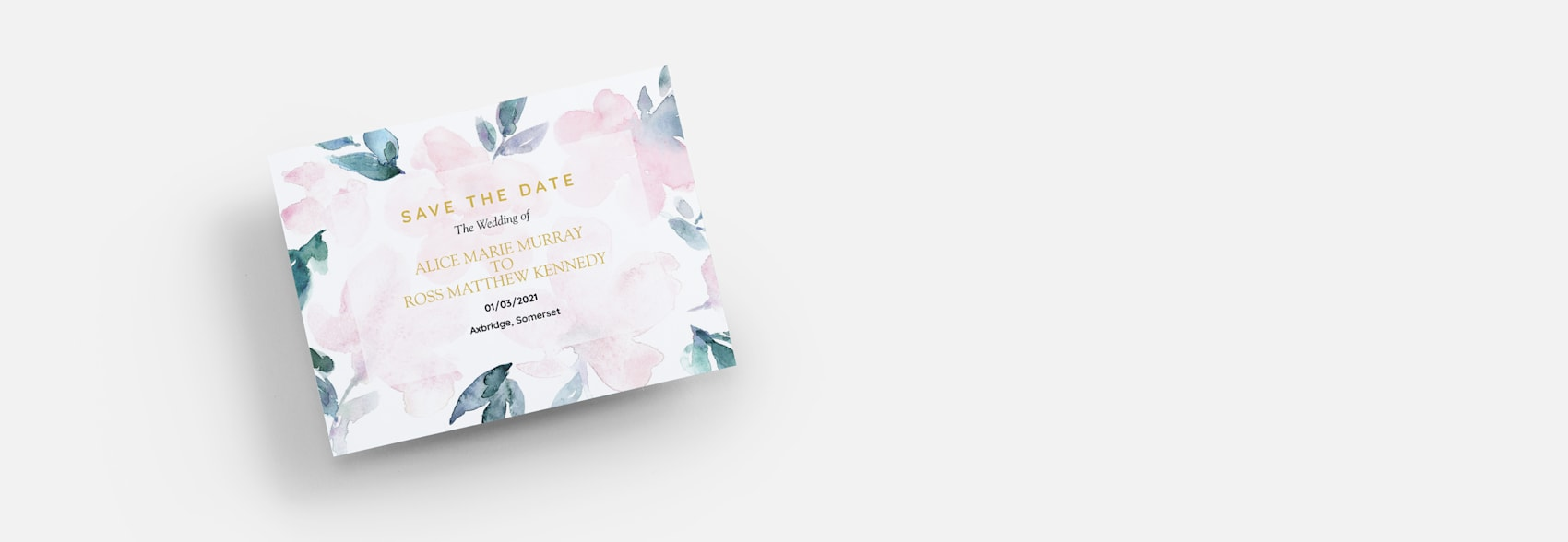 wedding save the dates with watercolour flower design