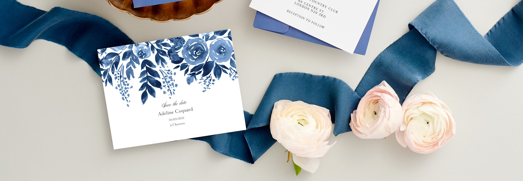 save the date cards with blue and white flowers