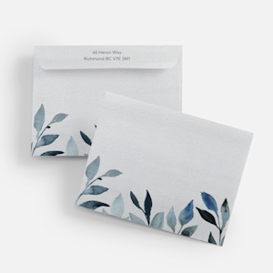 personalized envelopes with greenery leaf theme