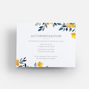 wedding enclosure card with watercolour flower design