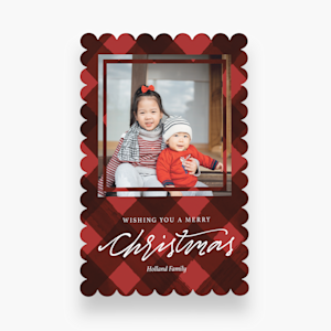 personalized holiday card with kids photo and red theme