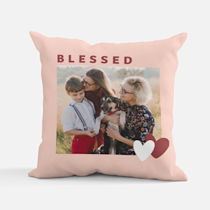 """photo pillow with the words """"blessed"""""""
