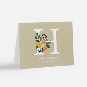 custom greeting card with initial and flower design