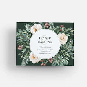 wedding reception card with floral illustration