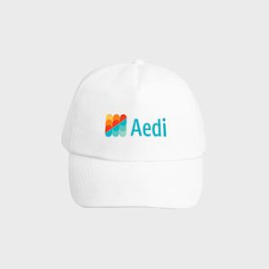 Printed white baseball cap