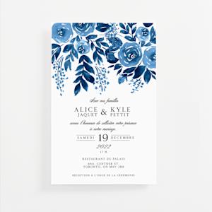 faire-part de mariage personnalisés avec graphisme de fleur bleue
