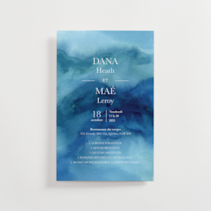 programme de mariage personnalisé avec aquarelle bleu marbré